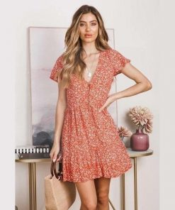Kleid es Bohemian orange